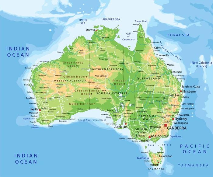 Vinilo Pixerstick Mapa de alta Australia detallada físico con el ...