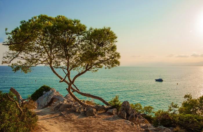 Vinylová Tapeta Večer krajina přes Středozemní moře La Pineda ve Španělsku - Voda