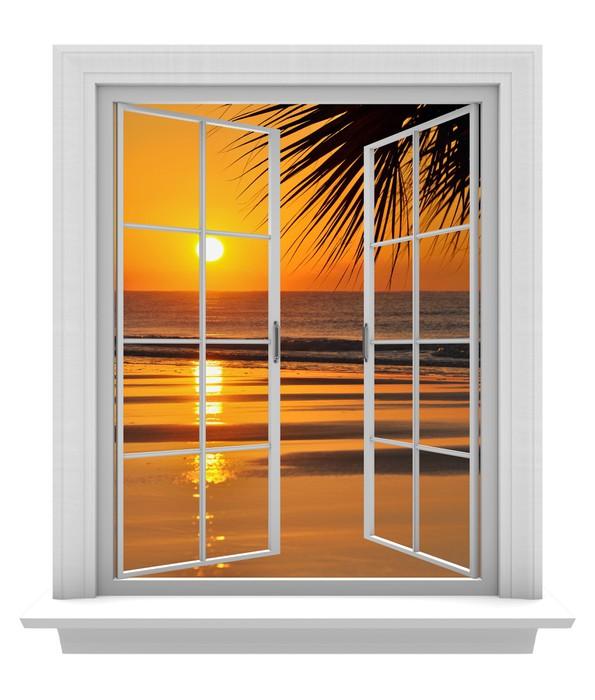 Carta da parati aprire la finestra con vista spiaggia tropicale e arancione del tramonto - La finestra biz ...