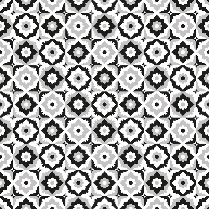 Seamless pattern black and white ceramic tile Wall Mural Pixers