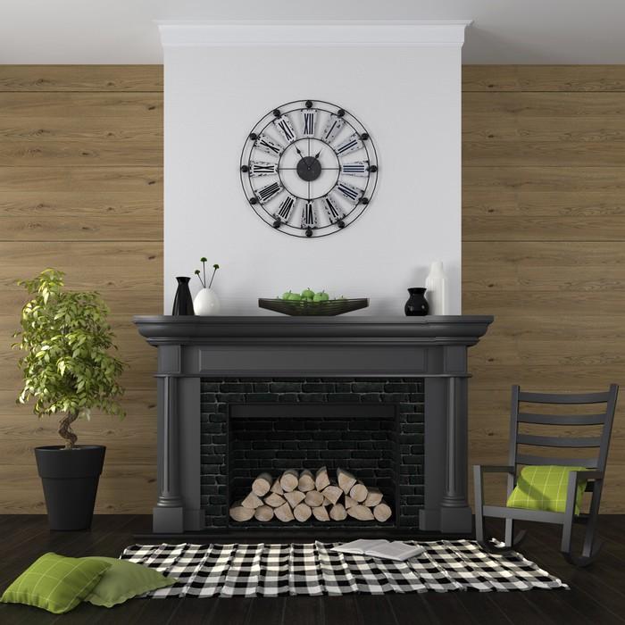 Fototapete Wohnzimmer Mit Kamin Und Schwarz Grün Dekor