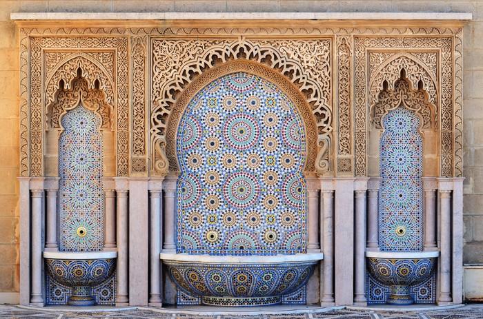 Carta da parati marocco fontana decorata con piastrelle a mosaico