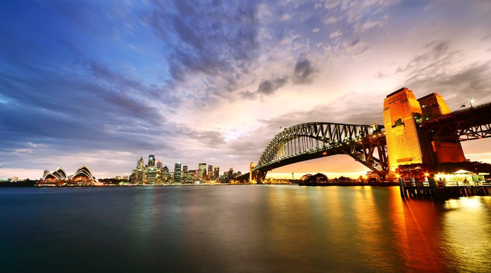 Sydney Harbor Panorama At Twilight Wall Mural Pixers
