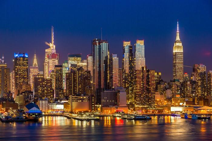 Mural de Parede em Vinil New York City Manhattan edifícios midtown skyline da noite - Cidades americanas