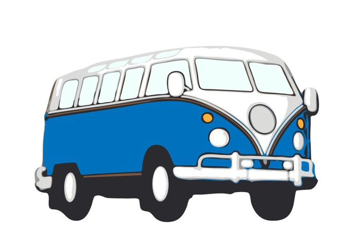 sticker blauer vw bus hippie pixers we leven om te veranderen. Black Bedroom Furniture Sets. Home Design Ideas