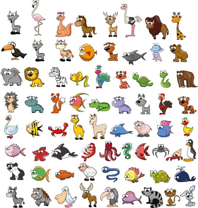 Vinylová Tapeta Большой набор мультяшных животных, вектор - Savci
