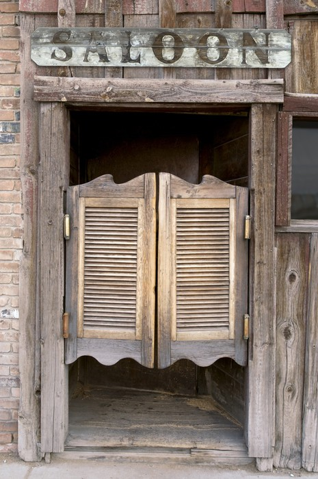 Old Western Swinging Saloon Doors with Sign Vinyl Wall Mural - & Old Western Swinging Saloon Doors with Sign Wall Mural \u2022 Pixers ...