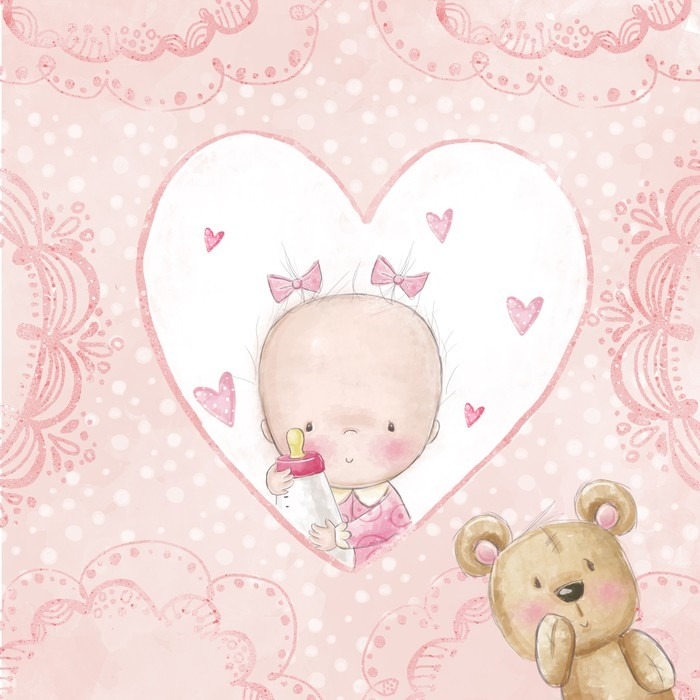 Baby shower greeting cardby girl with teddy poster pixers we baby shower greeting cardby girl with teddy poster m4hsunfo