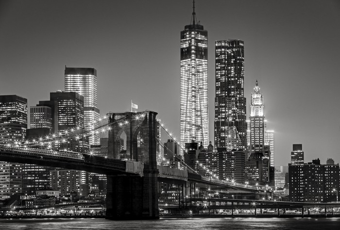 Carta da Parati Autoadesiva New York by night. Ponte di Brooklyn, Lower Manhattan - un nero -