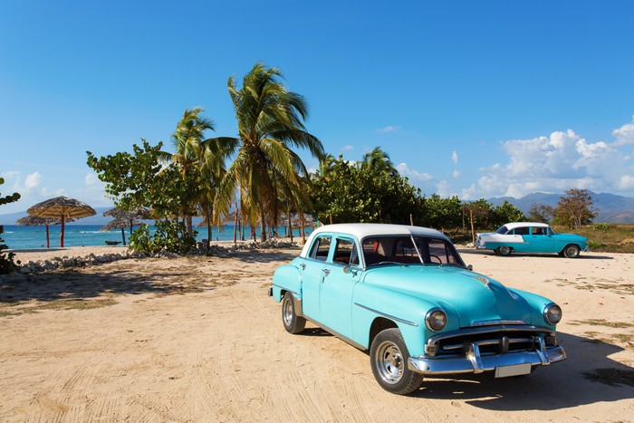 Old Classic Car On The Beach Of Cuba Vinyl Wall Mural