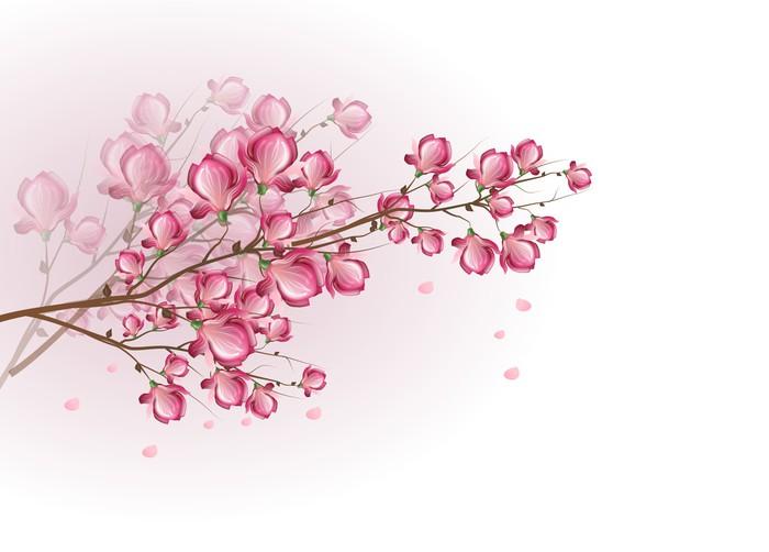 Vinylová Tapeta Tmavě růžová magnólie květ - Stromy