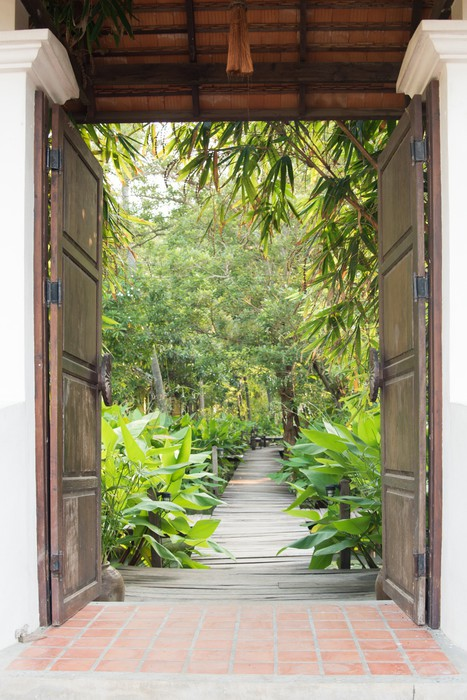 papier peint porte d 39 entr e au jardin tropical pixers. Black Bedroom Furniture Sets. Home Design Ideas