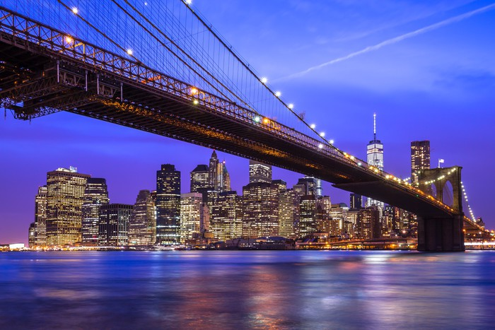 new york city manhattan brooklyn bridge night skyline wall mural