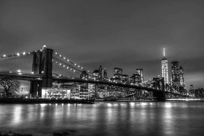 poster pont de brooklyn au cr puscule new york city pixers nous vivons pour changer. Black Bedroom Furniture Sets. Home Design Ideas