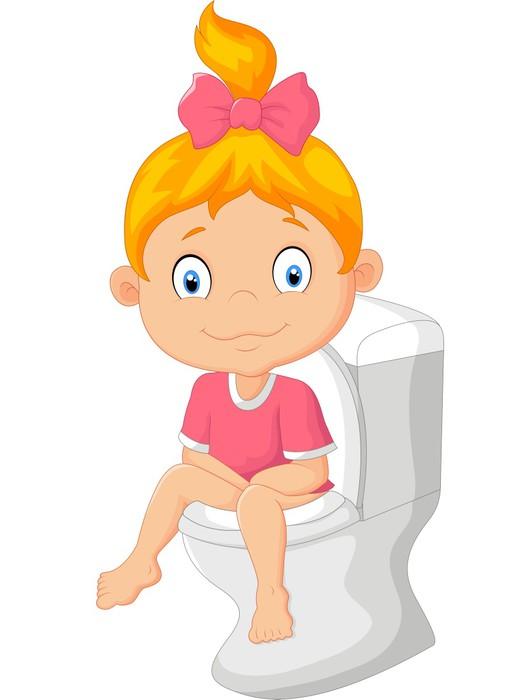 aufkleber kleines m dchen auf der toilette sitzend. Black Bedroom Furniture Sets. Home Design Ideas