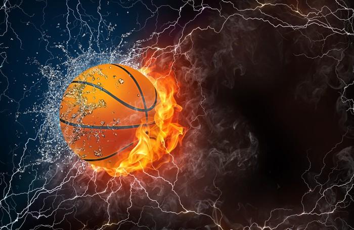 Vinylová Tapeta Basketbalový míč do ohně a vody - Sportovní potřeby