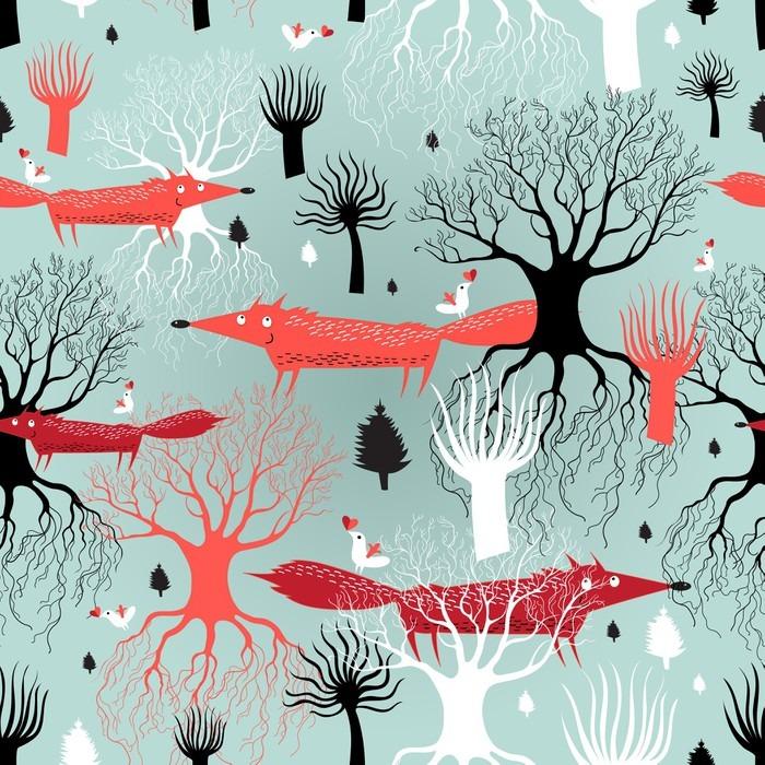 papier peint arbres de motif et les renards pixers nous vivons pour changer. Black Bedroom Furniture Sets. Home Design Ideas
