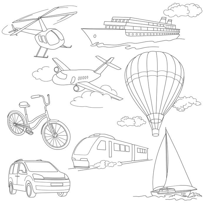 Vinylová Tapeta Cestovní set autoklimatizace balóny lodě na kole vrtulník letadlo vlak - Na cestě