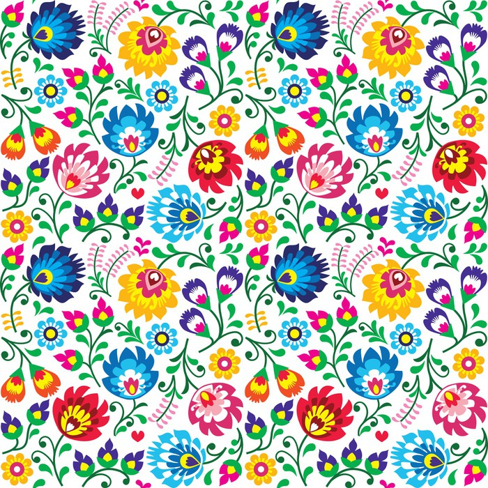 Seamless Polish Folk Art Floral Pattern Wall Mural