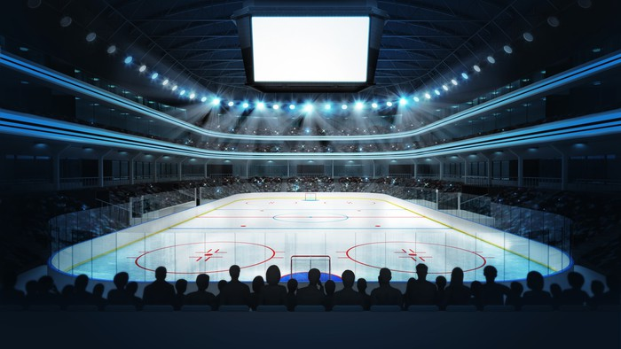 Hockey Stadium With Spectators And Blank Cube Text Space