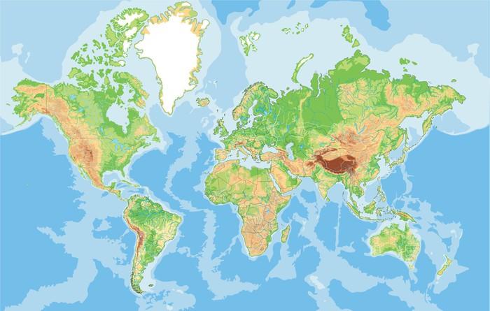 Cartina Mondiale Fisica.Poster Altamente Dettagliata Mappa Fisica Del Mondo Pixers Viviamo Per Il Cambiamento