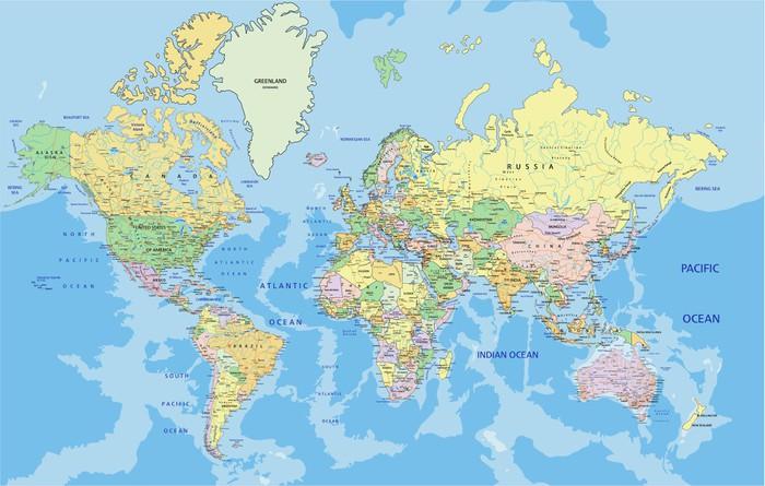 Carta da Parati in Vinile Altamente dettagliata mappa del mondo politico con l'etichettatura. - Temi