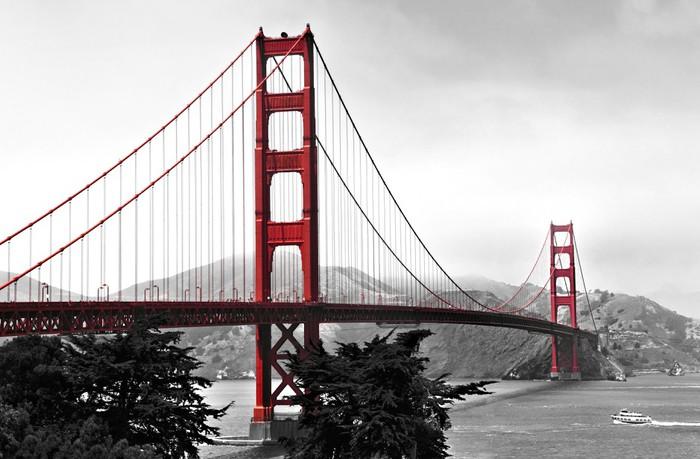 Fotomural Puente Golden Gate Estallido De Color Rojo