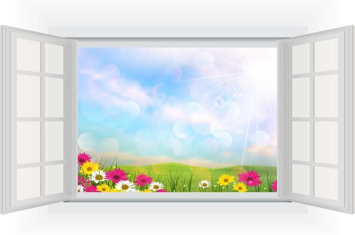 Quadro su tela bella estate con fiori di vista finestra - Quadro finestra ...