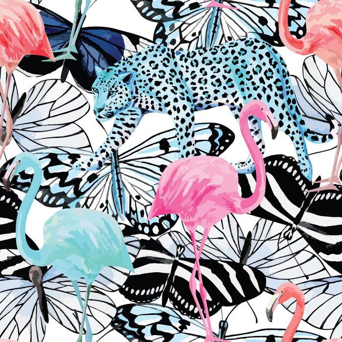 Vinylová Tapeta Plameňák, leopard a motýli akvarel vzor - Savci