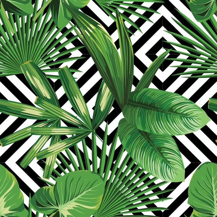 Tropical Palm Leaves Pattern Geometric Background Vinyl Wall Mural