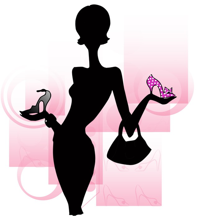 Carta da parati sagoma di donna con scarpe pixers for Carta da parati vinile