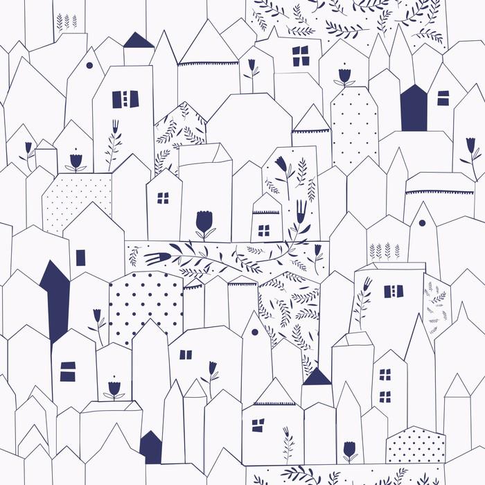 Carta da Parati in Vinile Seamless pattern. Figura città in stile vintage. - Stili