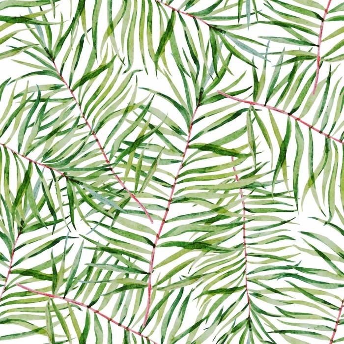 Fototapet av Vinyl Vattenfärg tropiska leafs mönster - Växter & blommor