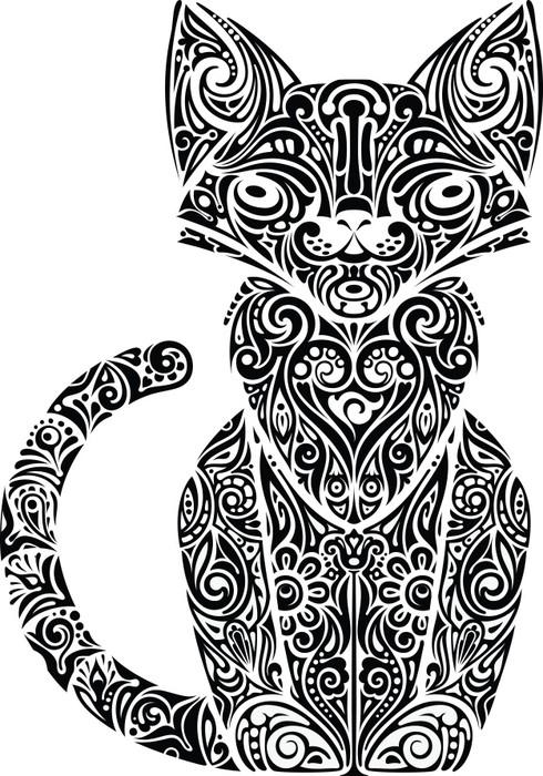 Vinylová Tapeta Cat vzorované monochromatické - Savci