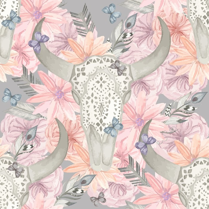 papier peint seamless ethnique cr ne taureau dans les fleurs pixers nous vivons pour changer. Black Bedroom Furniture Sets. Home Design Ideas