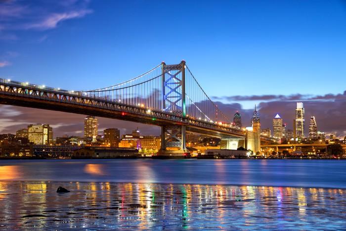 Philadelphia Skyline And Ben Franklin Bridge At Dusk Us