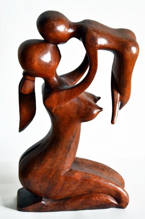 Vinylová Tapeta Madre con bambino. scultura v legno - Umění a tvorba