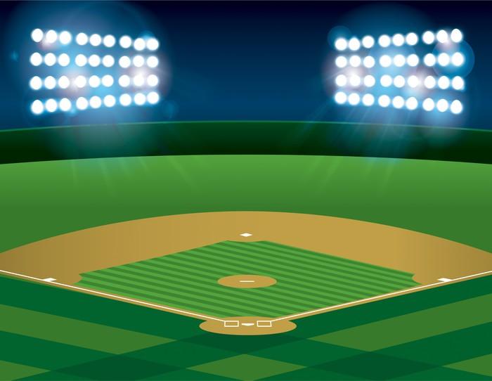 Vinylová Tapeta Baseball Softball pole je v noci osvětlená - Týmové sporty