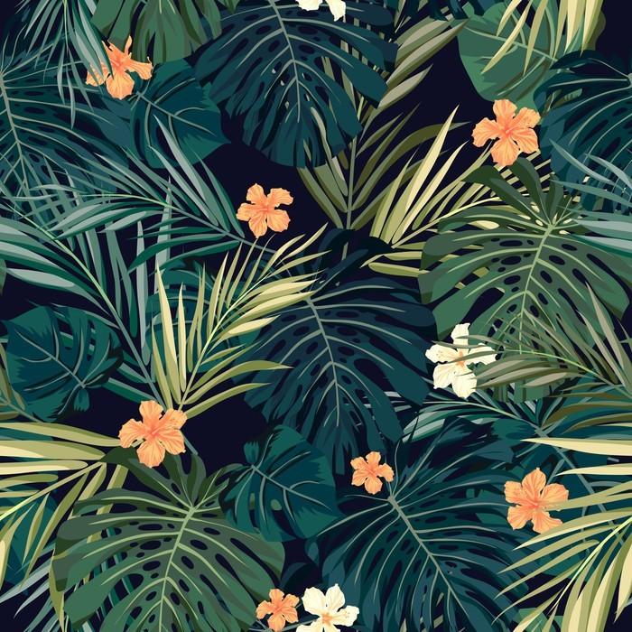 Papier peint vinyle Bright fond transparent tropical coloré avec des feuilles et - Fleurs et plantes