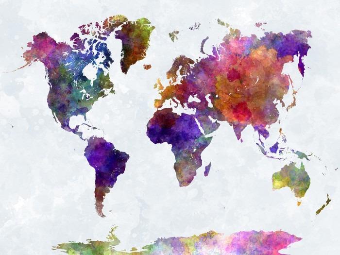 Carta da Parati in Vinile Mappa del mondo in watercolorpurple e blu -