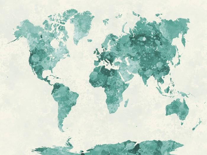 weltkarte aquarell Leinwandbild Weltkarte in Aquarell grün • Pixers®   Wir leben, um  weltkarte aquarell