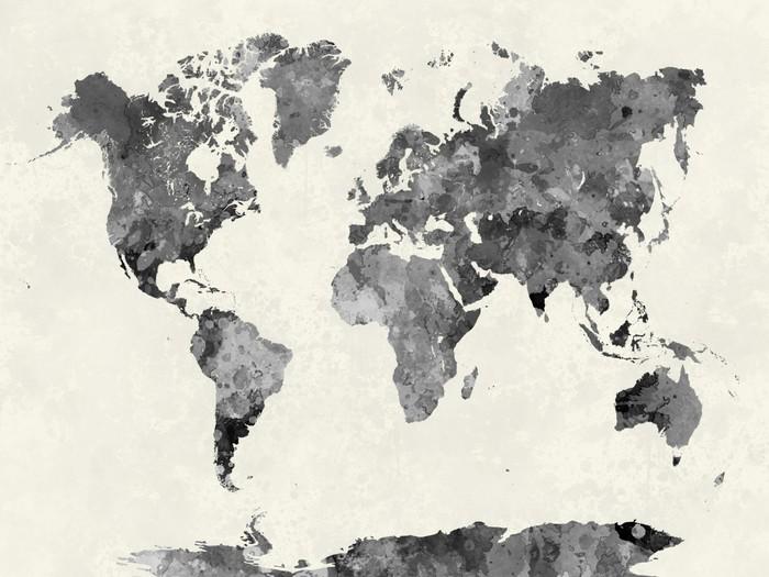 tableau sur toile carte du monde dans l 39 aquarelle grise pixers nous vivons pour changer. Black Bedroom Furniture Sets. Home Design Ideas