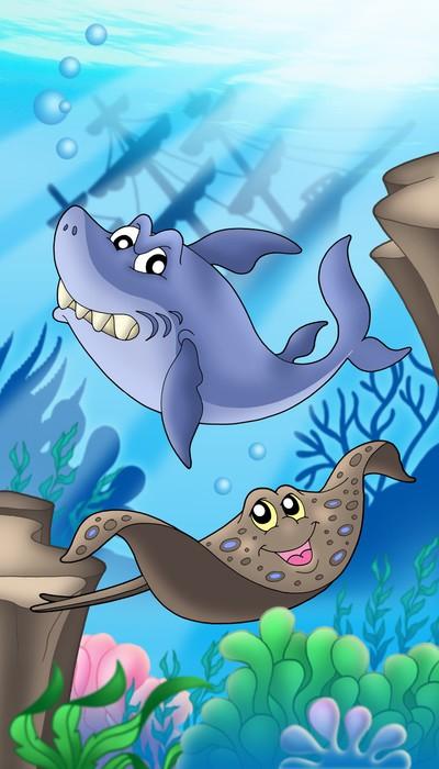 Vinylová Tapeta Žralok a mantovití s ztroskotání - Vodní a mořský život