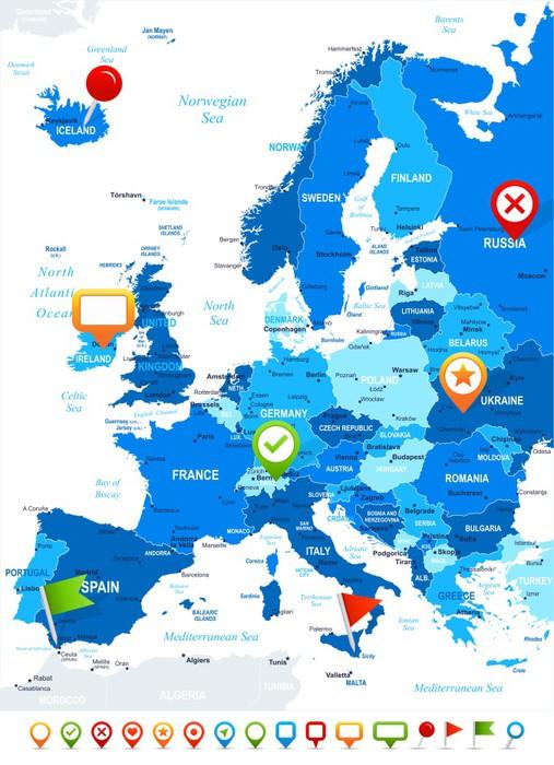 sticker europe carte et navigation ic nes illustration image contient des couches suivantes. Black Bedroom Furniture Sets. Home Design Ideas