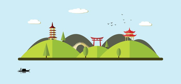 Vinylová Tapeta Asian landscape - Hory