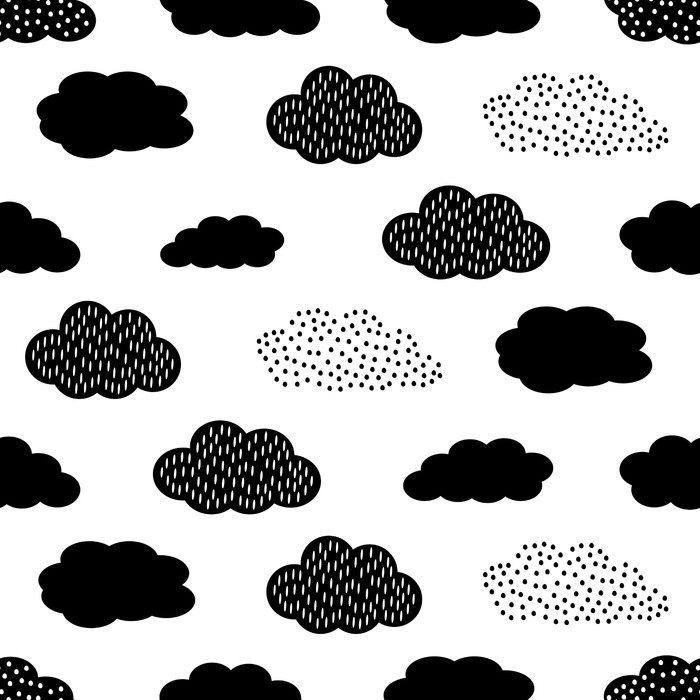 Black And White Seamless Pattern With Clouds Cute Baby