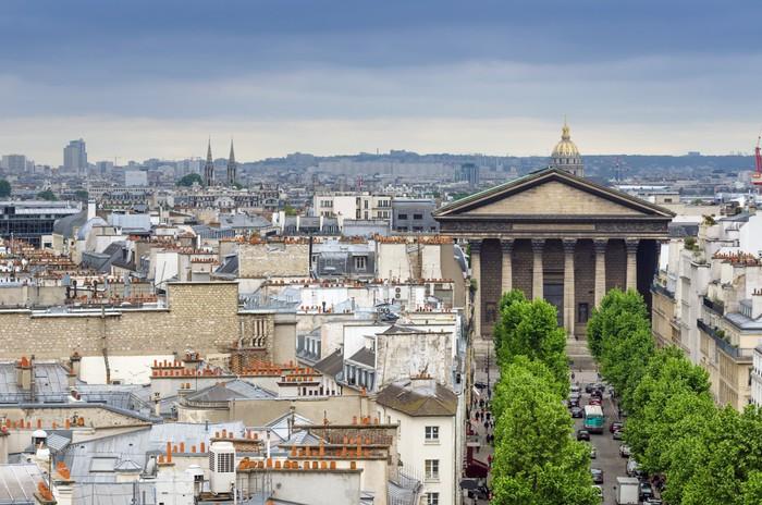 Vinylová Tapeta Kostel Madeleine s Paris Skyline - Evropská města