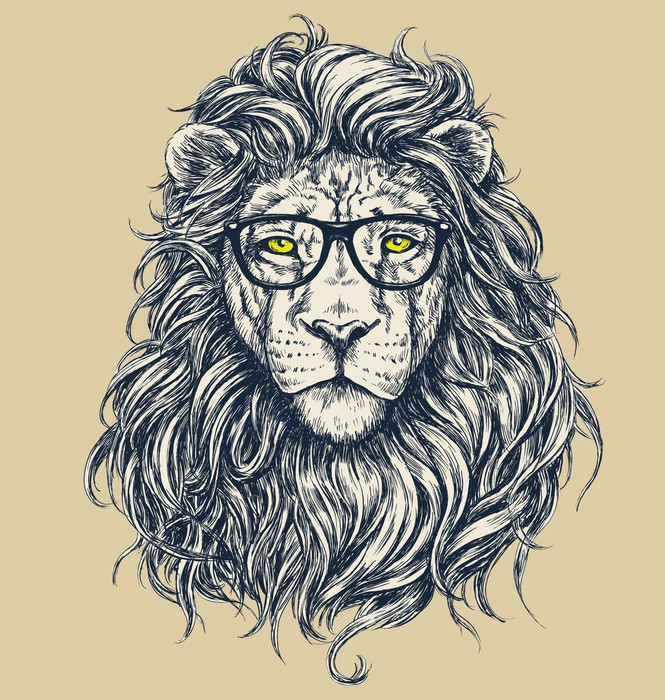 papier peint hipster vecteur de lion illustration lunettes s par s pixers nous vivons. Black Bedroom Furniture Sets. Home Design Ideas