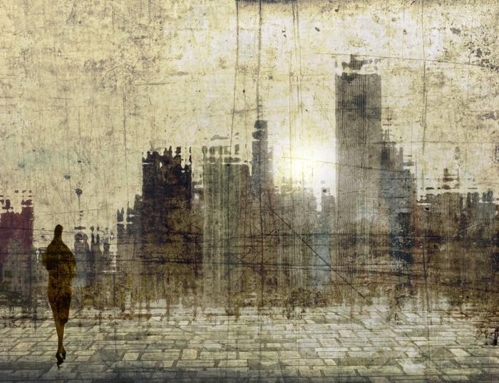 Vinylová Tapeta Vintage panorama města s malou ženskou postavu - Město