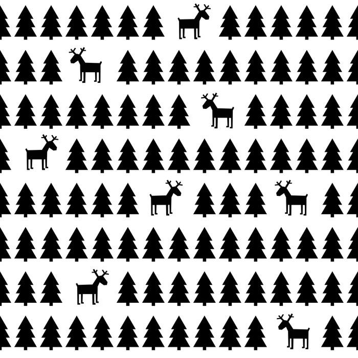 papier peint simple r tro seamless noir et blanc de no l cerfs des arbres de no l bonne. Black Bedroom Furniture Sets. Home Design Ideas